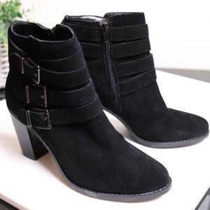 INC International Concepts Shoes - Beautiful Black Suede Leather Buckle Ankle Boots